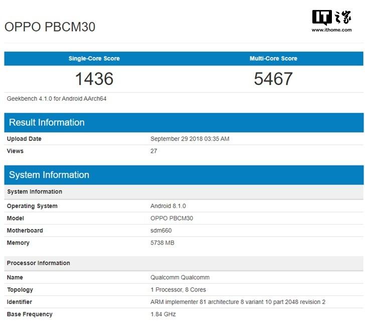 OPPO K1手机CPU跑分曝光 或为10月10日新品