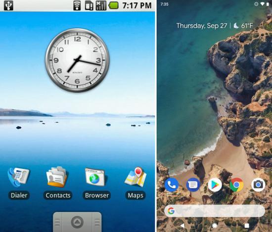 初代安卓1.0与最新安卓9.0的UI对比:满满的回忆