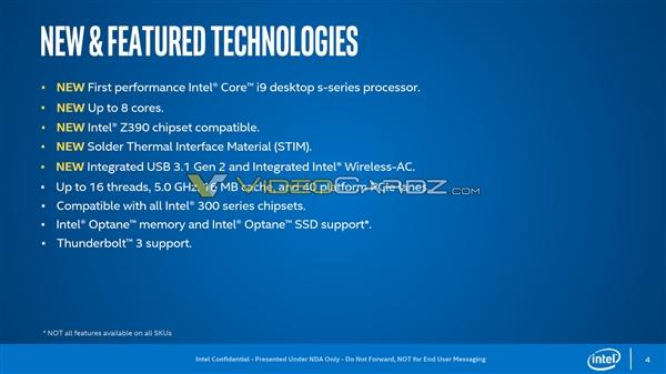Intel 9代酷睿官方PPT曝光?8核i9风冷5GHz、钎焊散热