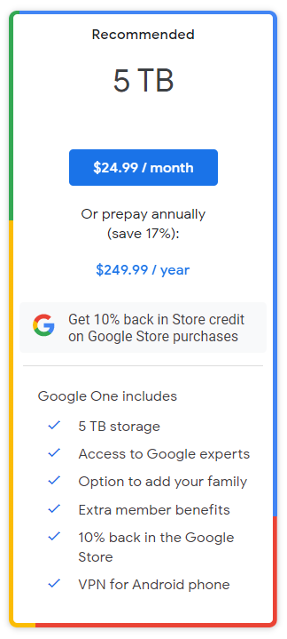 谷歌推出 5TB 网盘订阅服务:每月约合 161 元,每年 1610 元